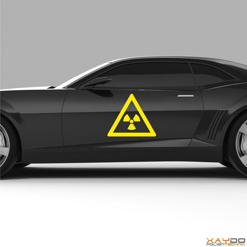 """Autoaufkleber """"Achtung Radioaktiv"""""""