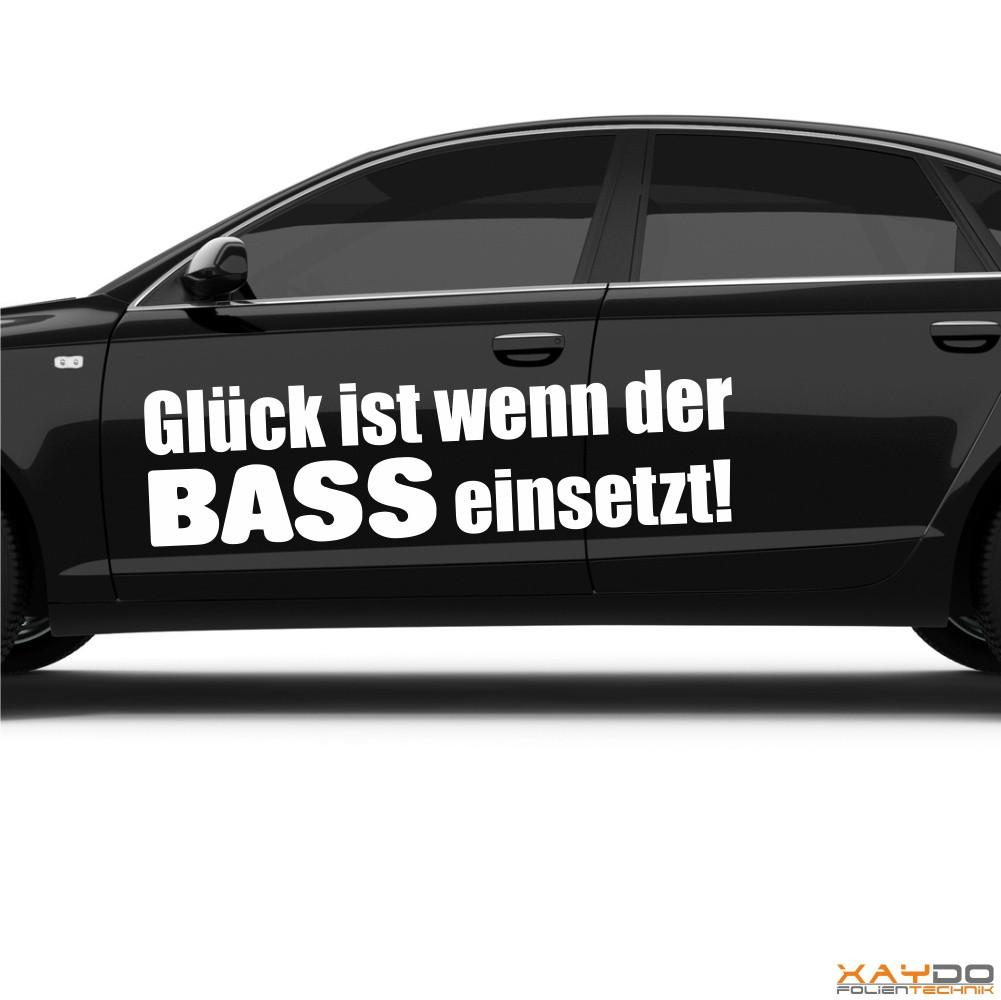 """Autoaufkleber """"Glück ist wenn der Bass einsetzt!"""""""