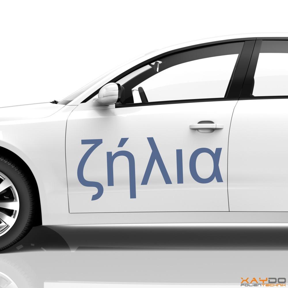 """Autoaufkleber Schriftzeichen """"Neid"""" (griechisch)"""