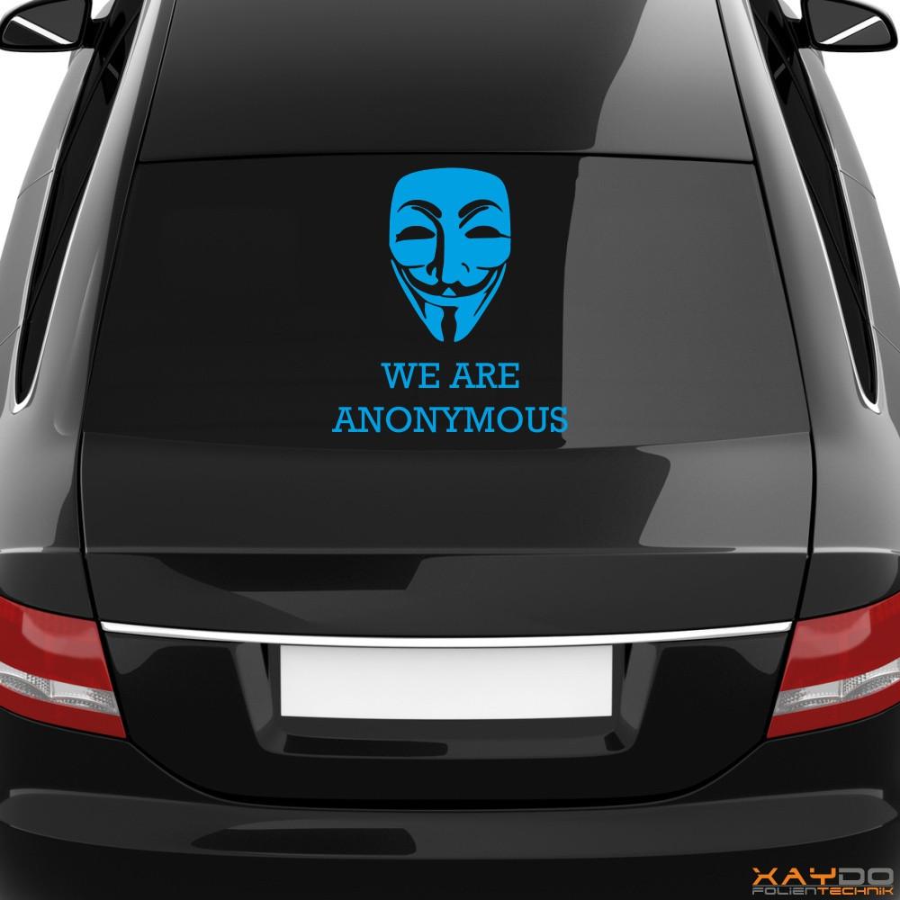 "Heckscheibenaufkleber Symbol ""We are Anonymous"""