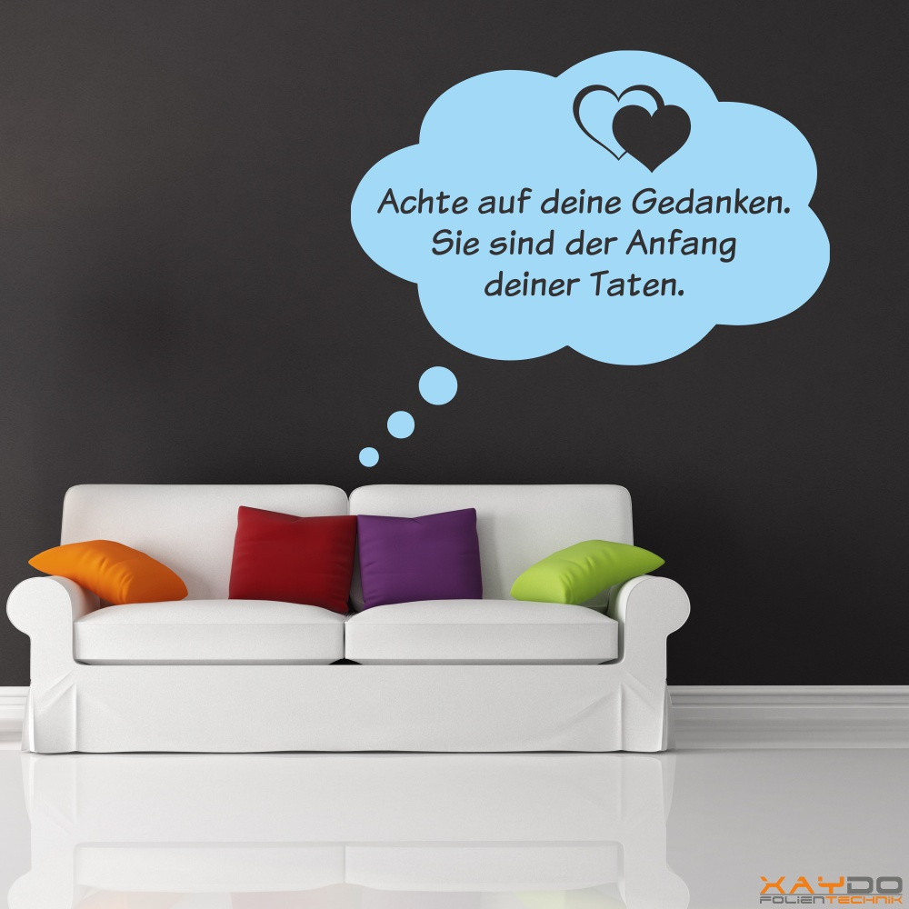 """Malerisch Wandtattoos Sprüche Foto Von Wandtattoo """"achte Auf Deine Gedanken"""""""