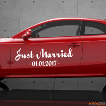 "Autoaufkleber ""Just Married (inkl. Datum)"""