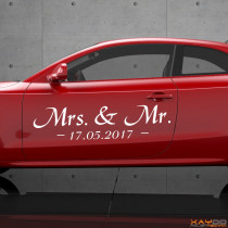 "Autoaufkleber ""Mrs. & Mr."""