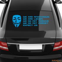 """Heckscheibenaufkleber Symbol """"Anonymous Guy Fawkes + Motto"""""""