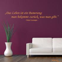 """Wandtattoo """"Das Leben ist ein Bumerang..."""""""