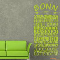 "Wandtattoo Stadtviertel ""Bonn"""