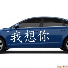 """Autoaufkleber """"Ich vermisse Dich"""" (chinesisch)"""