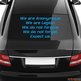 """Autoaufkleber """"Anonymous Motto"""""""