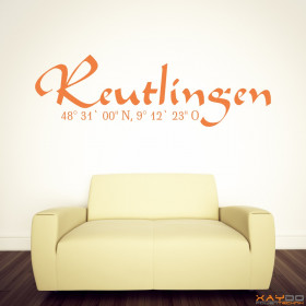 """Wandtattoo """"Stadtname Reutlingen"""""""