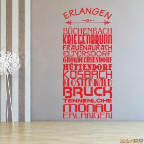 """Wandtattoo """"Stadtviertel Erlangen"""""""