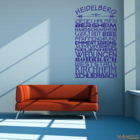 """Wandtattoo """"Stadtviertel Heidelberg"""""""