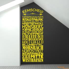 """Wandtattoo """"Stadtviertel Remscheid"""""""