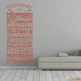 "Wandtattoo ""Stadtviertel Stuttgart"""