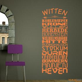 """Wandtattoo """"Stadtviertel Witten"""""""