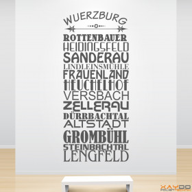 """Wandtattoo """"Stadtviertel Würzburg"""""""
