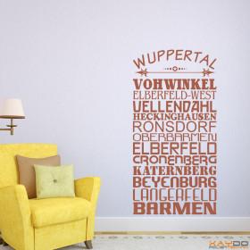 "Wandtattoo ""Stadtviertel Wuppertal"""
